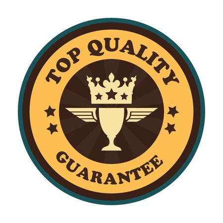 qc: Yellow Vintage Style Top Quality Guarantee Icon Badge Sticker or Label Isolated on White Background