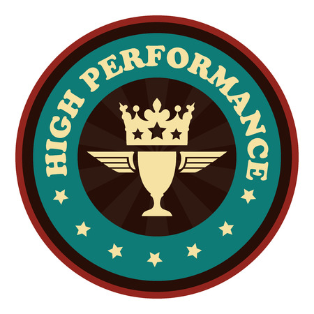 high performance: Blue Vintage Style High Performance Icon Badge Sticker or Label Isolated on White Background