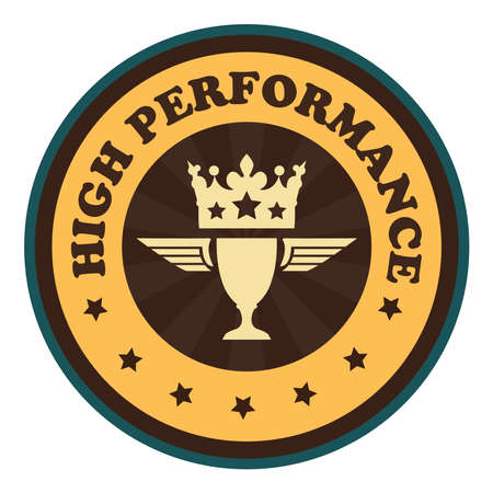 high performance: Orange Vintage Style High Performance Icon Badge Sticker or Label Isolated on White Background Stock Photo