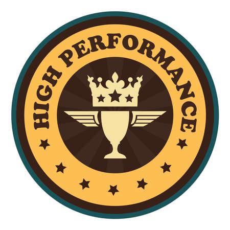 potency: Orange Vintage Style High Performance Icon Badge Sticker or Label Isolated on White Background Stock Photo