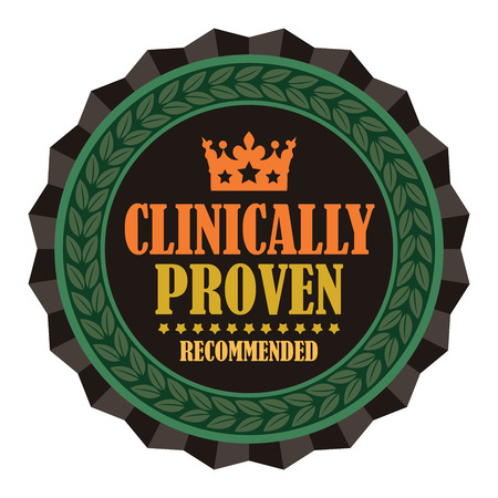 proven: Black Vintage Clinically Proven Recommended Icon Badge Sticker or Label Isolated on White Background Stock Photo