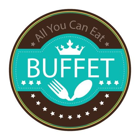 buffet: Blue Vintage All You Can Eat Buffet Icon Badge Sticker or Label Isolated on White Background