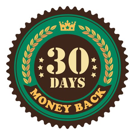 insurance claim: Green Vintage 30 Days Money Back Icon Badge Sticker or Label Isolated on White Background Stock Photo