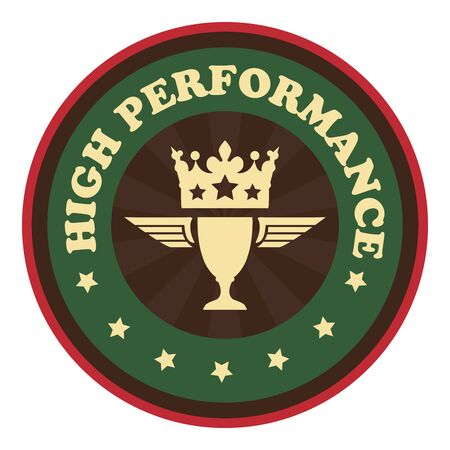 high performance: Green Vintage Style High Performance Icon Badge Sticker or Label Isolated on White Background Stock Photo