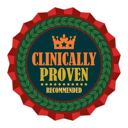 proven: Red Clinically Proven Recommended Icon Badge Sticker or Label Isolated on White Background