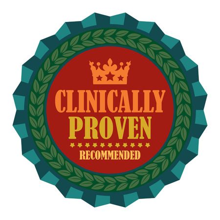 proven: Blue Clinically Proven Recommended Icon Badge Sticker or Label Isolated on White Background