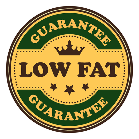 low cal: Green Vintage Low Fat Icon Badge Sticker or Label Isolated on White Background