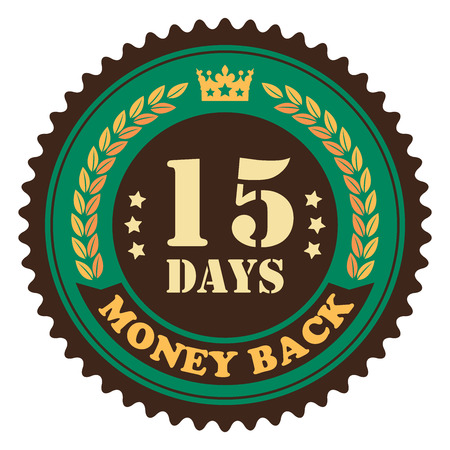 insurance claim: Green Vintage 15 Days Money Back Icon Badge Sticker or Label Isolated on White Background