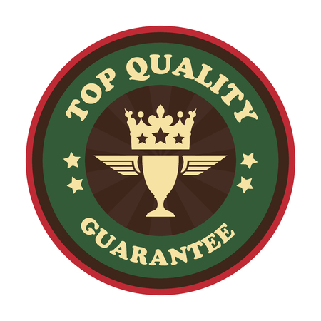 qc: Green Vintage Style Top Quality Guarantee Icon Badge Sticker or Label Isolated on White Background