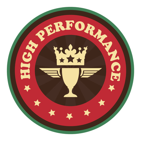 alto rendimiento: Red Vintage High Performance Icono Insignia pegatina o etiqueta de estilo aislados sobre fondo blanco Foto de archivo