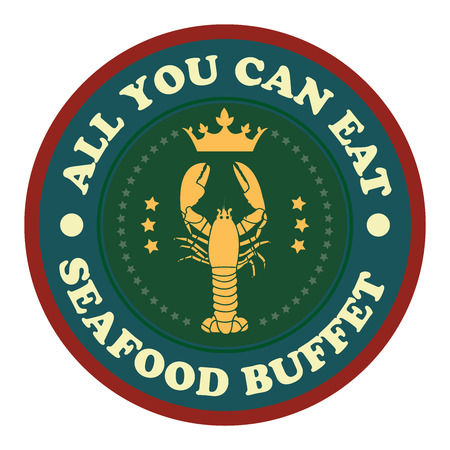 buffet: Vintage Style All You Can Eat Seafood Buffet Icon Badge Sticker or Label Isolated on White Background