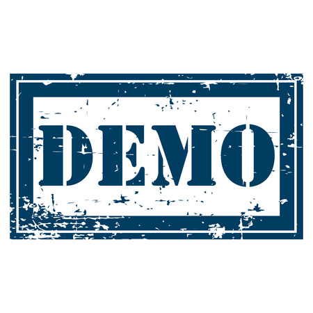 plugin: Blue Rectangle Grunge Style Demo Icon Rubber Stamp or Label Isolated on White Background
