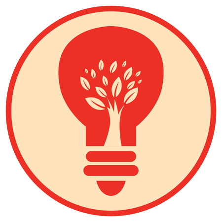 recycling campaign: Red Circle Tree Light Bulb Retro Icon Button or Label Isolated on White Background