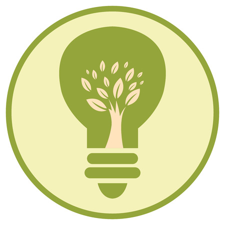 recycling campaign: Green Circle Tree Light Bulb Retro Icon Button or Label Isolated on White Background Stock Photo
