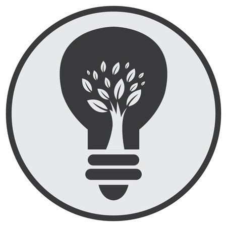 recycling campaign: Black Circle Tree Light Bulb Retro Icon Button or Label Isolated on White Background