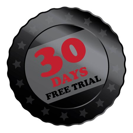 plugin: Black Metallic 30 Days Free Trial Label Sign Sticker or Icon Isolated on White Background Stock Photo