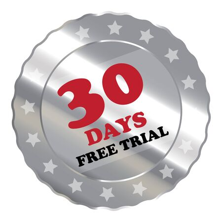 proved: Silver Metallic 30 Days Free Trial Label Sign Sticker or Icon Isolated on White Background