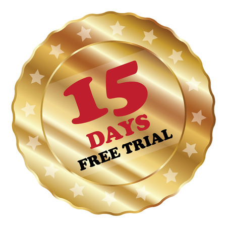plugin: Gold Metallic 15 Days Free Trial Label Sign Sticker or Icon Isolated on White Background