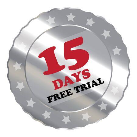 proved: Silver Metallic 15 giorni di prova gratuita Etichetta Sign Sticker o icona isolato su sfondo bianco Archivio Fotografico
