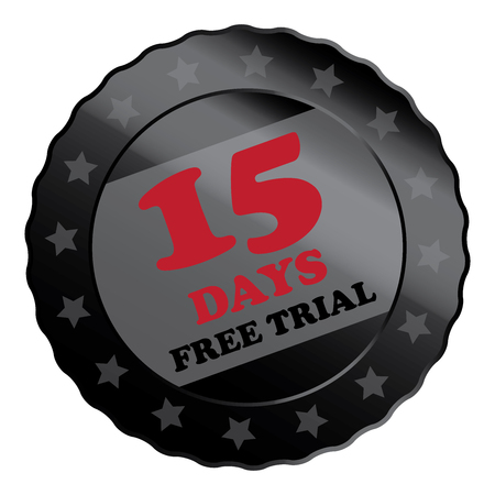 plugin: Black Metallic 15 Days Free Trial Label Sign Sticker or Icon Isolated on White Background
