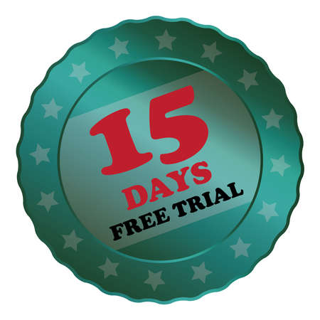 proved: Blue Metallic 15 Days Free Trial Label Sign Sticker or Icon Isolated on White Background Stock Photo