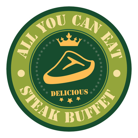 buffet: Green Vintage Style All You Can Eat Steak Buffet Icon Badge Sticker or Label Isolated on White Background Stock Photo