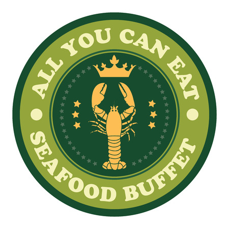 buffet: Green Vintage Style All You Can Eat Seafood Buffet Icon Badge Sticker or Label Isolated on White Background Stock Photo