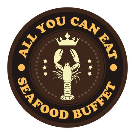 buffet: Brown Vintage Style All You Can Eat Seafood Buffet Icon Badge Sticker or Label Isolated on White Background