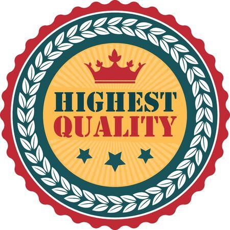 qc: Orange Vintage Highest Quality Icon Badge Sticker or Label Isolated on White Background Stock Photo