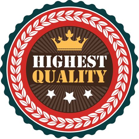 highest: Brown Vintage Highest Quality Icon Badge Sticker or Label Isolated on White Background