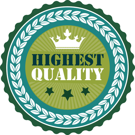 highest: Green Vintage Highest Quality Icon Badge Sticker or Label Isolated on White Background Stock Photo