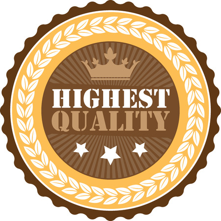 qc: Brown Vintage Highest Quality Icon Badge Sticker or Label Isolated on White Background