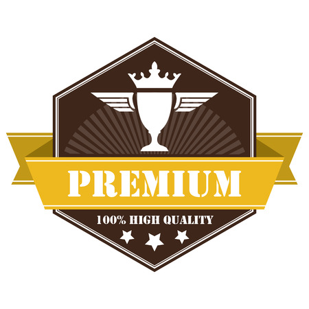 qc: Brown Vintage Premium 100 High Quality Icon Badge Sticker or Label Isolated on White Background