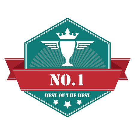no1: Blue Vintage No.1 Best of The Best Icon Badge Sticker or Label Isolated on White Background
