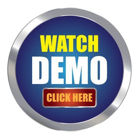 klik: Blue Circle Metallic horloge Demo klik hier Uitgevers Sign Sticker of pictogram op een witte achtergrond