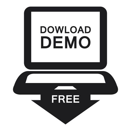 plugin: Black Download Demo Free Label Sign or Icon Isolated on White Background Stock Photo