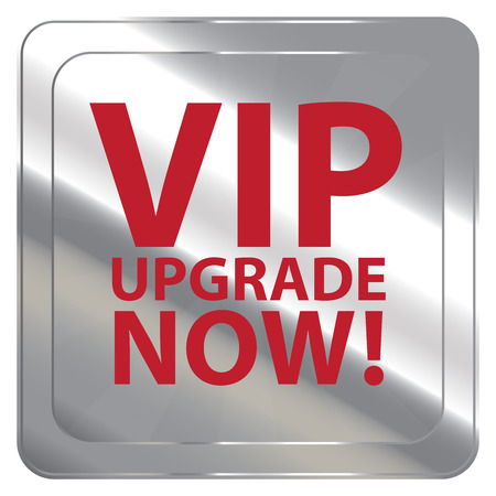 plugin: Silver Square Metallic VIP Upgrade Now Label Sign Sticker or Icon Isolated on White Background