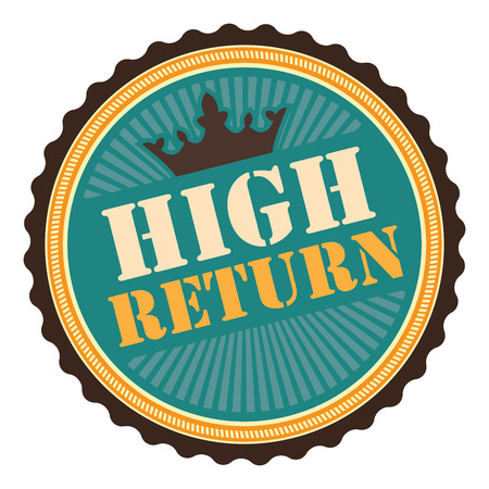 Blue Vintage High Return Icon Badge Sticker or Label Isolated on White Background Reklamní fotografie