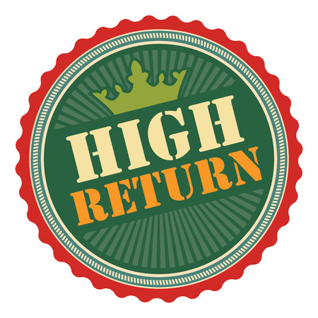 stock market return: Green Vintage High Return Icon Badge Sticker or Label Isolated on White Background