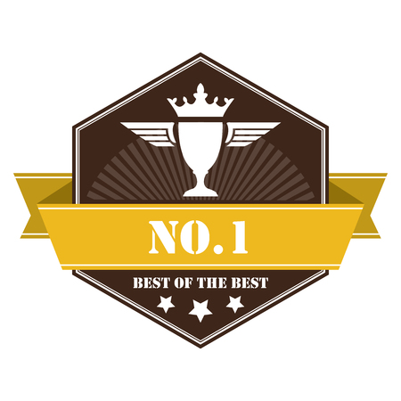 top rated: Brown Vintage No.1 Best of The Best Icon Badge Sticker or Label Isolated on White Background