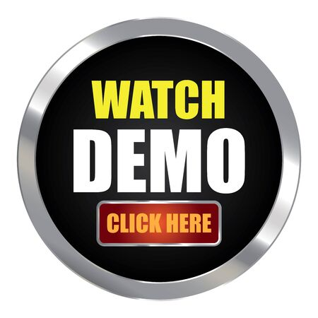 plugin: Black Circle Metallic Watch Demo Click Here Label Sign Sticker or Icon Isolated on White Background