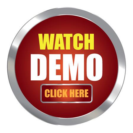 klik: Red Circle Metallic horloge Demo klik hier Uitgevers Sign Sticker of pictogram op een witte achtergrond