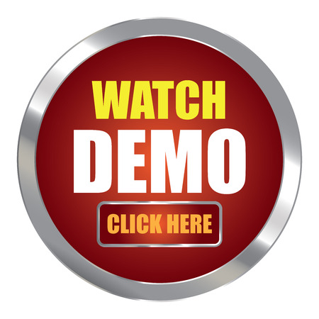 click here: Red Circle Metallic Watch Demo Click Here Label Sign Sticker or Icon Isolated on White Background