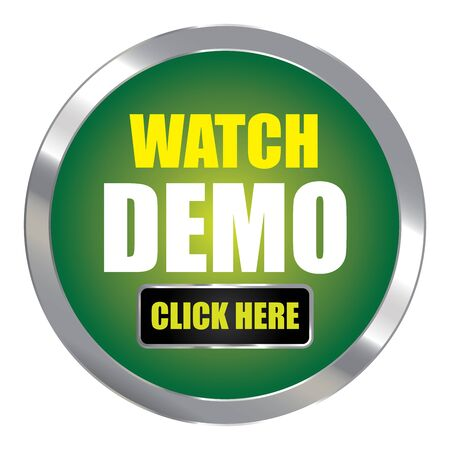 Green Circle Metallic Watch Demo Click Here Label Sign Sticker or Icon Isolated on White Background 写真素材