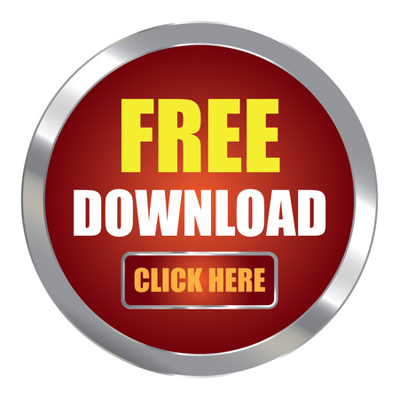 Red Circle Metallic Free Download Click Here Label Sign Sticker or Icon Isolated on White Background
