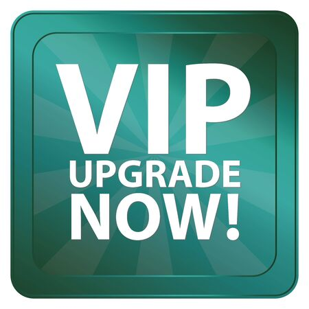 plugin: Blue Square Metallic VIP Upgrade Now Label Sign Sticker or Icon Isolated on White Background Stock Photo