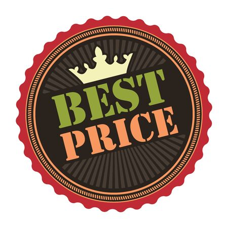 deduction: Black Vintage Best Price Icon Badge Sticker or Label Isolated on White Background