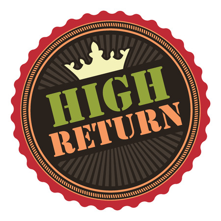 return: Black Vintage High Return Icon Badge Sticker or Label Isolated on White Background