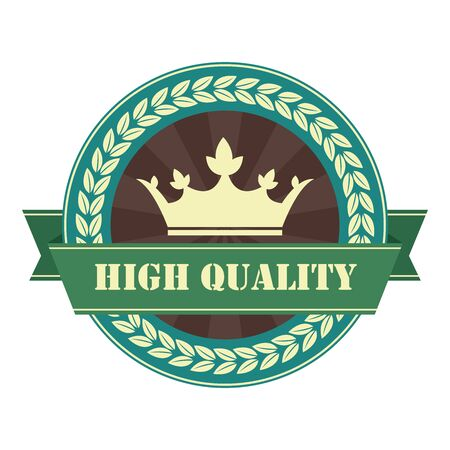 qc: Blue Vintage High Quality Ribbon Sticker Icon or Label Isolated on White Background