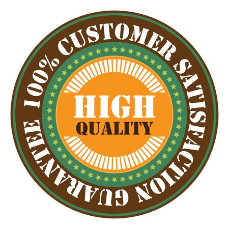 qc: Brown High Quality 100 Customer satisfaction Guarantee Sticker Icon or Label Isolated on White Background